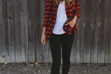 24 black leggings, a white tee, a plaid shirt and brown suede boots