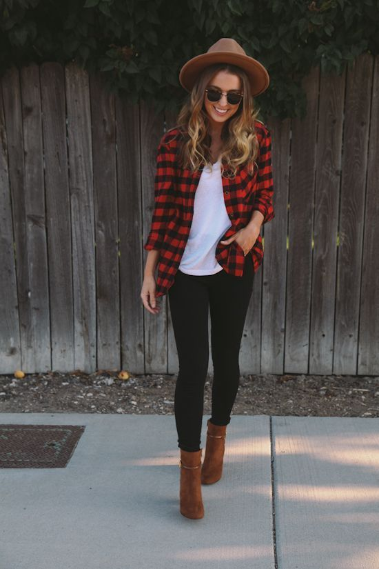 black leggings, a white tee, a plaid shirt and brown suede boots