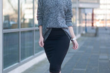 24 black pencil skirt, a grey turtleneck sweater and suede boots