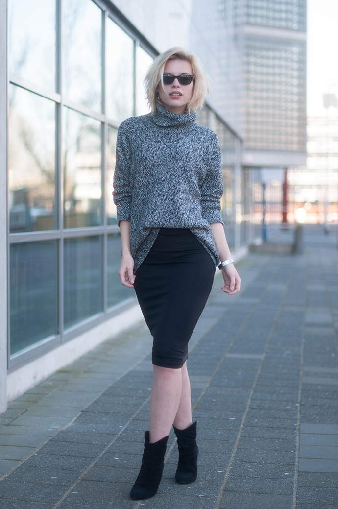 black pencil skirt, a grey turtleneck sweater and suede boots