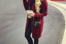 24 burgundy cardigan, leather pants, leopard flats, a floppy hat
