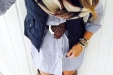 24 chambray button up dress, brown riding boots, navy vest, brown belt, and blanket scarf