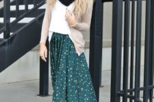 24 dotted jade green maxi skirt, a white top, a nude cardigan and a black scarf