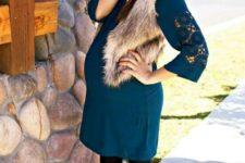 24 emerald dress, tights, a faux fur vest