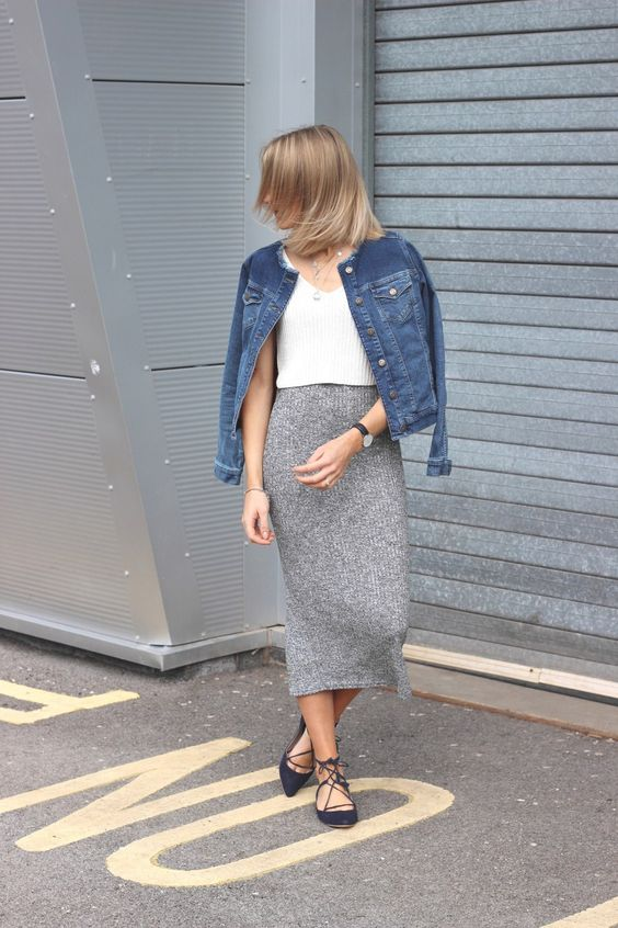 grey knit midi, a white knit top, lace up flats