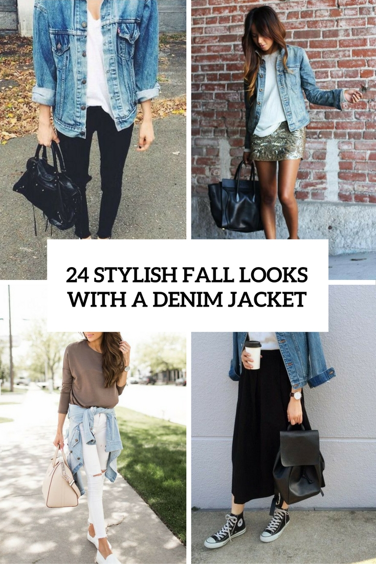 stylish fall looks with a denim jacket cover