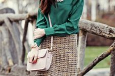 24 tweed skirt, an emerald blouse and a blush bag