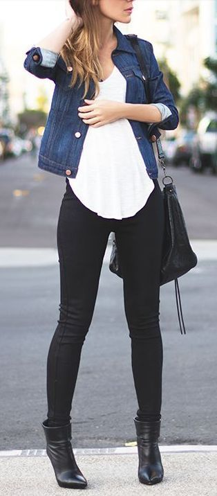 black leggings, a white t-shirt, a denim jacket and black boots