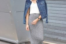 25 grey knitted skirt and denim jacket with lace up flats