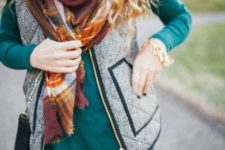 25 long-sleeve emerald dress, a zip vest and a plaid scarf