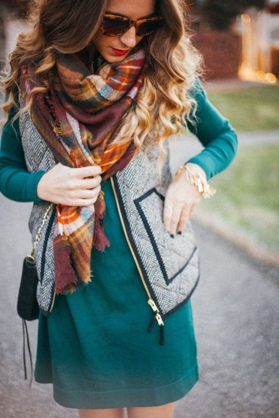 long-sleeve emerald dress, a zip vest and a plaid scarf