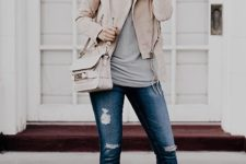 25 nude leather jacket, blue jeans and a grey t-shirt