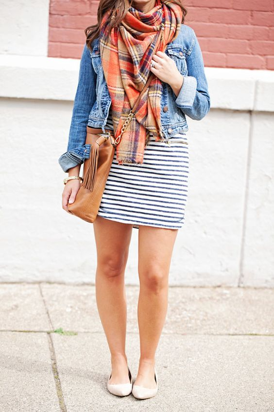 striped dress, nude flats, a plaid scarf