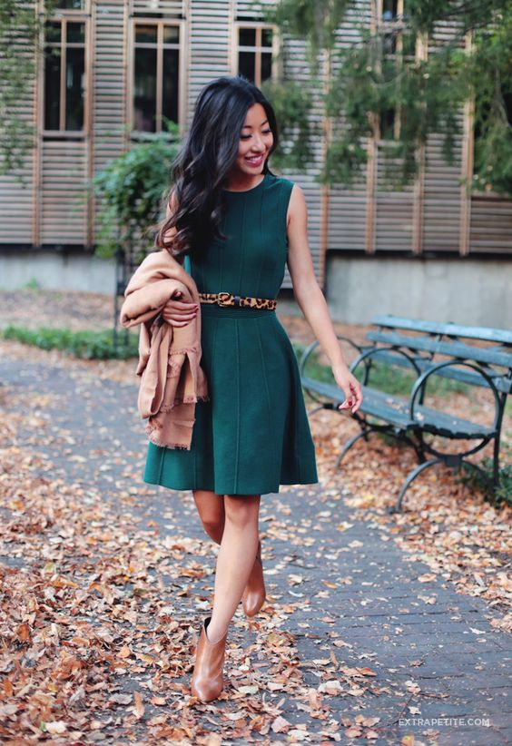 jade green dress, a warm camel shawl and boots