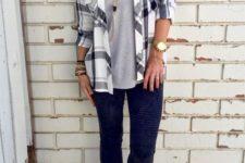 26 leggings, a grey tee, a plaid shirt and tan boots