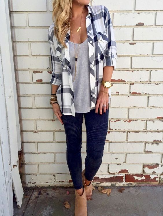 leggings, a grey tee, a plaid shirt and tan boots