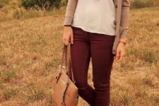 26 long camel cardigan, burgundy pants jeans, leopard flats, a white tank
