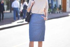 26 mauve midi skirt, a nude embellished sweater and heels