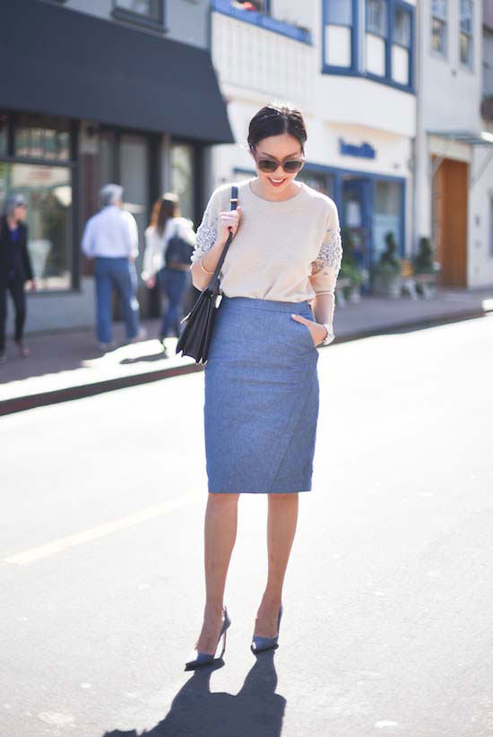 mauve midi skirt, a nude embellished sweater and heels