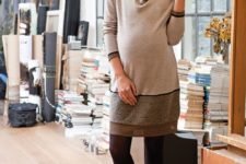 26 neutral-colored comfy dress, tights and ankle boots