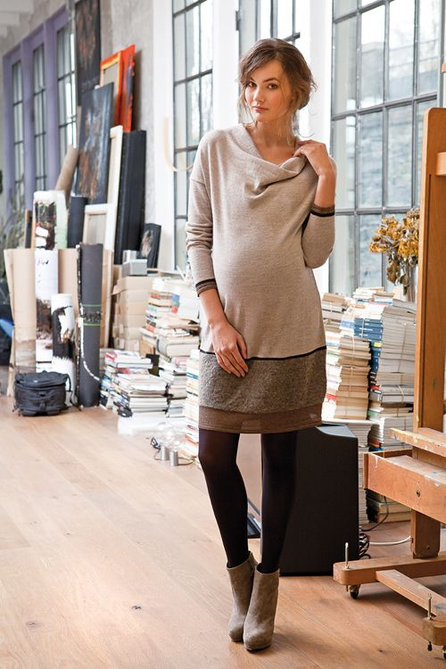 neutral-colored comfy dress, tights and ankle boots
