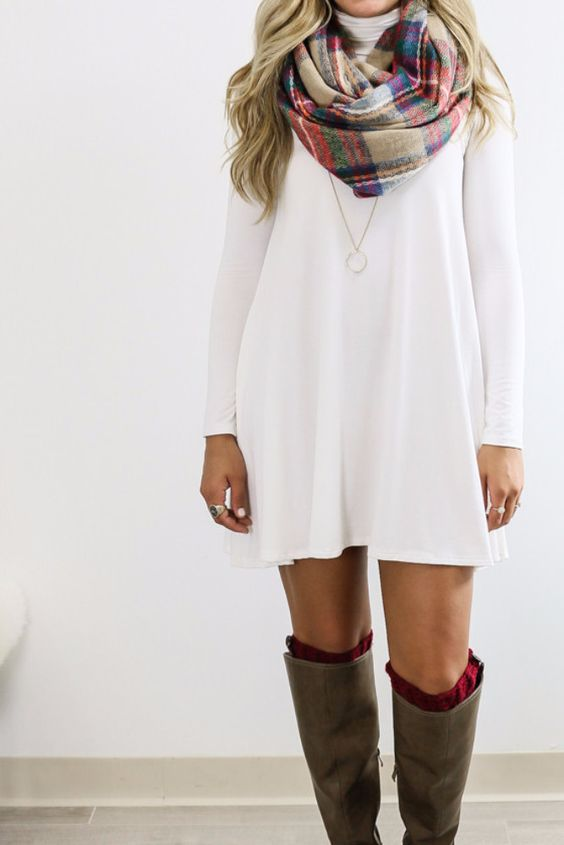 neutral colored cotton dress with a beautiful blanket scarf and boots