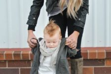 26 tan pants, a white tee, ocher boots and a grey jacket