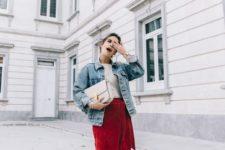 26 wrap red skirt, a vintage denim jacket, heels