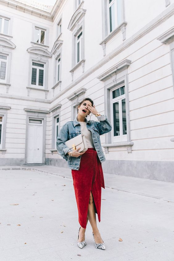 wrap red skirt, a vintage denim jacket, heels
