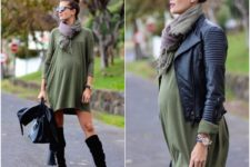 27 olive green dress, a plaid scarf, a leather jacket and suede boots