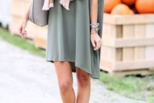 27 olive green swing dress, a blanket plaid scarf and brown ankle booties