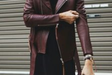 27 oxblood jacket and a black mini dress