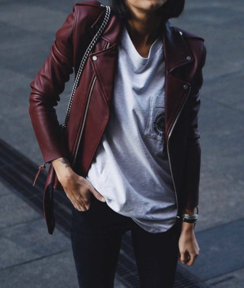 oxblood leather, a white tee and navy jeans