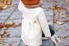28 white coat, ocher leggings, blush boots, a polka dot scarf and an amber hat