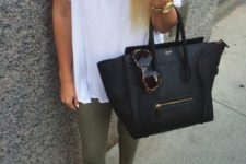 29 olive green trousers, a white tee, a statement necklace and leopard flats