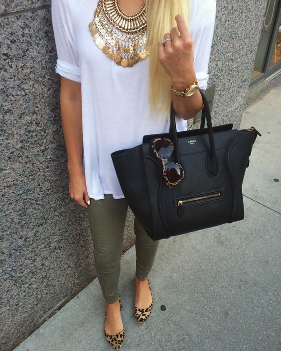 olive green trousers, a white tee, a statement necklace and leopard flats