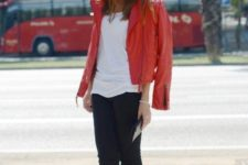 29 red leather, a white tee and black trousers