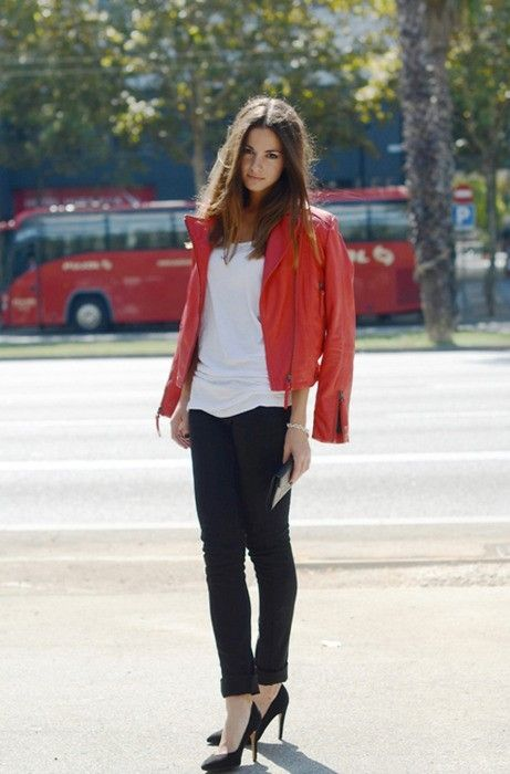 red leather, a white tee and black trousers