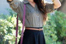 30 black skater skirt, a grey shirt and a bold pink purse
