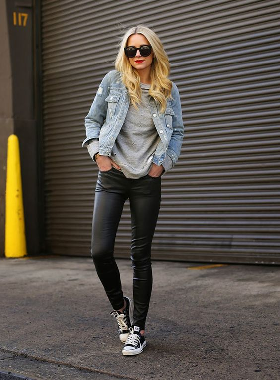 leather black leggings, a grey tee, a denim jacket