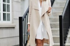 31 white dress, a nude trench coat and heels