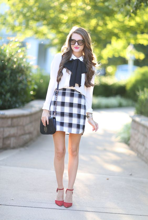 plaid mini skirt, a tie-on bow, a white blouse and red heels for a trendy back to school outfit