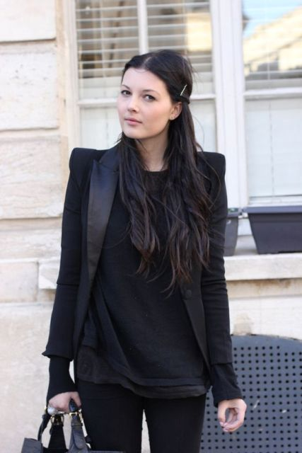 All black outfit with jacket, t-shirt and pants