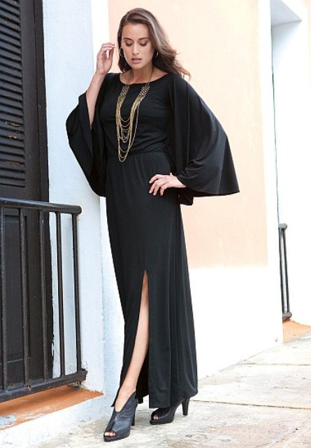 Awesome black maxi dress with heels