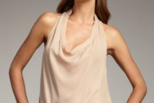 Beige sleeveless shirt with printed skirt