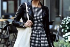 Black and white mini dress with leather jacket
