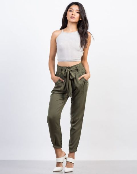Cargo pants outfit with white crop top