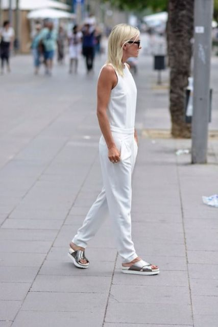 Cool look with silver shoes and white jumpsuit