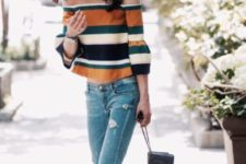 Cool look with trendy bell-sleeved shirt and jeans