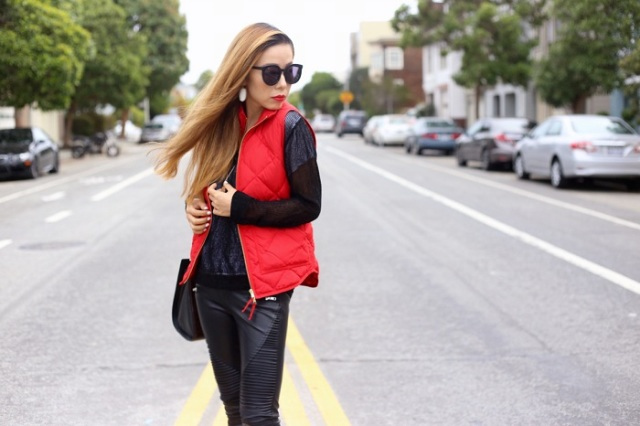 Eye-catching vest, black shirt and leather pants